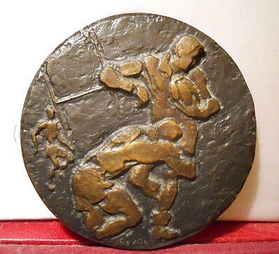 Rugby Very Rare Large French Bronze Art Medal Sports