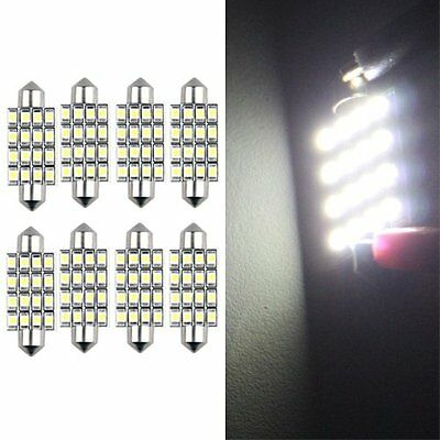 8 Lampadine Siluro 16 Led Smd Bianco Luci Interno 42Mm Hk