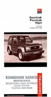 Daihatsu Sportrak Fourtrak Hijet 1993 Price List