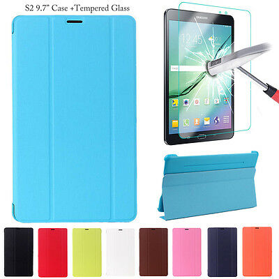 """Samsung Tab S2 9.7"""" T810/T815 Slim Smart Stand Case Cover + Tempered Glass"""