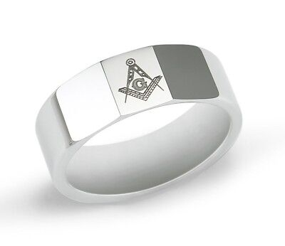 Masonic Tungsten Ring with Square & Compass | Freemasonry | Fathers Day Gifts