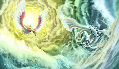 384 Pokemon Ho-Oh VS Lugia PLAYMAT CUSTOM PLAY MAT ANIME PLAYMAT FREE SHIPPING