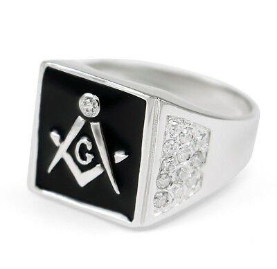 Masonic Square Ring with CZs | Freemasonry | Father's Day Gifts | Men's Rings