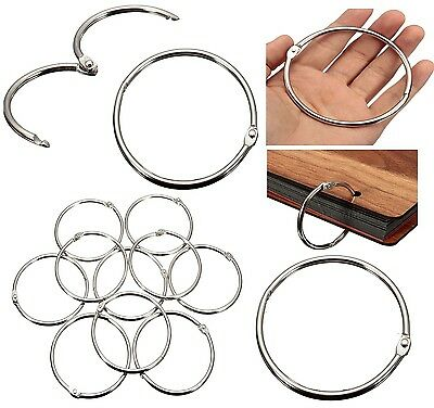 80/50/35mm Metal Silver Split Rings Ring Loop Hinged Book Binder Album Key Chain