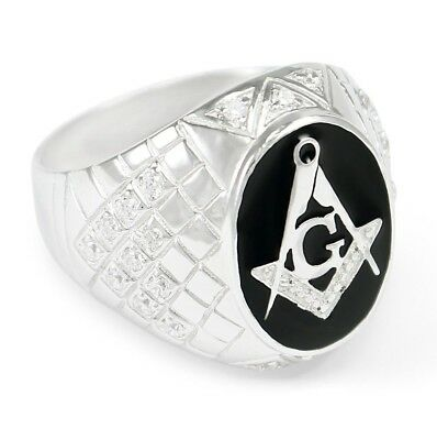 Masonic Oval Ring with CZs | Freemasonry | Father's Day Gifts | Men's Rings