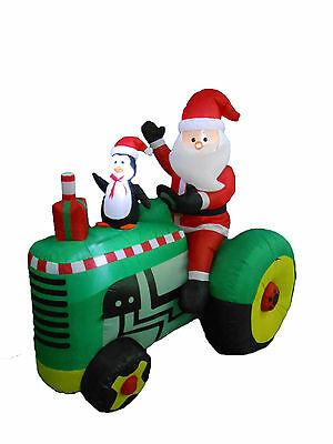 Christmas Inflatable Santa Claus Tractor LED Light Yard Party Outdoor Decoration