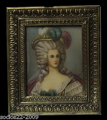Antique Miniature Hand Painted Portrait  Signed