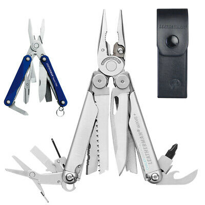 Leatherman WAVE Stainless Steel Multi Tool & Leather Sheath + SQUIRT PS4 Blue *A