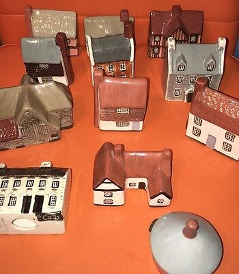 Lot Of 12 Collectible Mulden End Studio Miniature Houses Felsham Suffolk