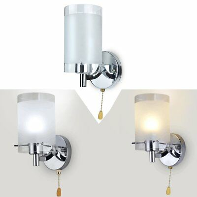 Modern Indoor Wall Light Silver Chrome & White Glass Sconce Lamp Fittings
