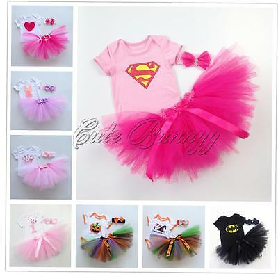 3PCS Girls Baby Romper Jumpsuit Tulle Tutu Skirt Party Headband Birthday Outfits