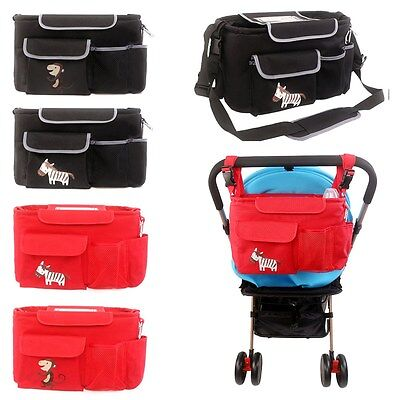 Baby Stroller Organizer Cartoon Diaper Bag Nappy Storage Bottle Holder Messenger