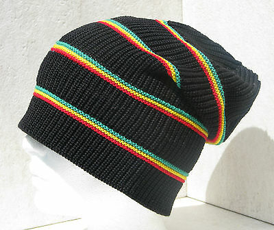 """big It Up"" Unisex Jamaican Black/red/yellow/green Tall Slouch Beanie Hat Toque"