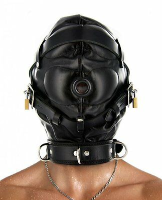 Strict Leather Complete Sensory Deprivation Hood. Adjustable Laces. Lockable M/L