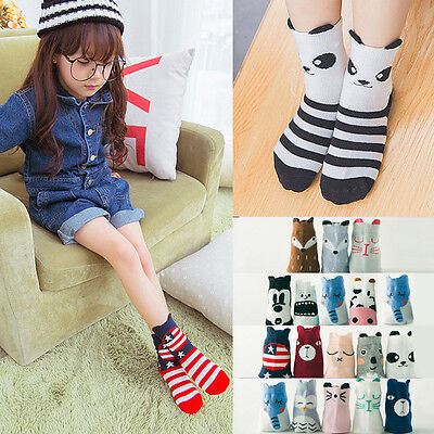 Cute Cartoon Baby Toddler Kids Boy Girl Breathable Cotton Socks 1-10Years