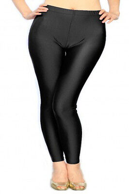 4715ddd085415 Bnwt Women Plus Size Liquid Shiny Fashion Leggings Solid Black One Size  Ssp9003
