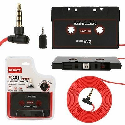 Car Music Audio Cassette Tape Aux Adapter 3.5mm Plug iPhone iPod MP3 Player CD