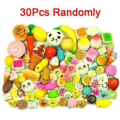 MS 30PCS Kawaii Squishies Mini Soft Food Panda Bread Donuts Phone Straps Charms