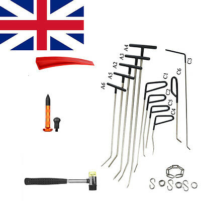 21pcs PDR Black Auto Body Rods Paintless Dent Repair Kit Tools Hail Ding Removal