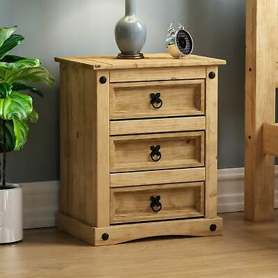 Corona Bedside Chest 3 Drawer Mexican Solid Waxed Pine Storage Furniture Unit