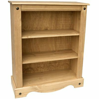 Corona Low Bookcase 3 Shelf Storage Mexican Solid Waxed Pine Furniture Unit