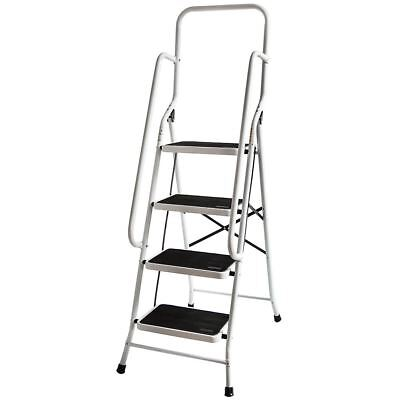 4 STEP LADDER With Handrail Steel Folding Kitchen Stool Safe Anti-Slip Tread