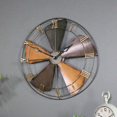 round clock wall clock industrial style vintage home metal clock large time