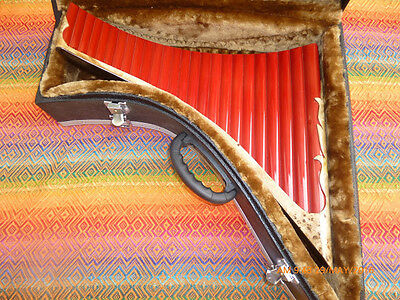 Panflute 25 Pipes Right Handed Red Painted Bamboo Fine Artwith Deluxe Case