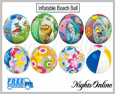 "New Inflatable 16"" 20"" Blow Up Beach Balls, All Designs For Holidays + Pools"