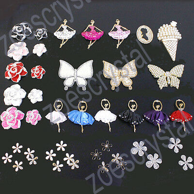 Metal decoden cabochon crystal rhinestone bling bling jewelry finding flatback