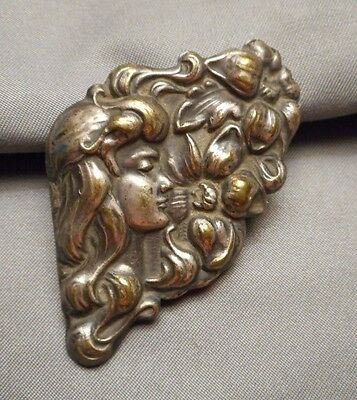 Antique Art Nouveau Long Haired Maiden w/ Flowers Buckle Half to Re-Purpose