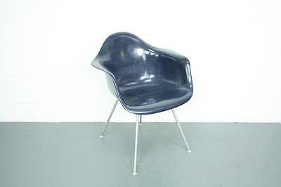Vintage Eames Herman Miller Lax Chair Original H Base Navy Blue  #1519 Rar