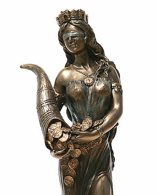 Goddess Fortune Tyche Luck Fortuna Statue Sculpture Figurine Bronze Finish 7.28""