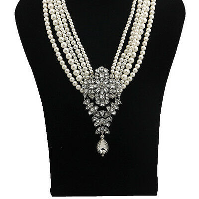 Multi-Pearls Crystal Pendant Necklace Fashion Chunky Statement Choker Charm