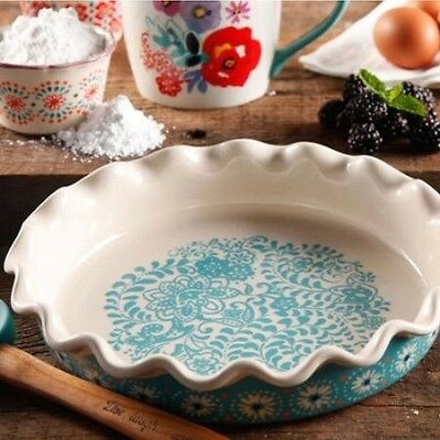 The Pioneer Woman Ruffled Stoneware Floral Pie Dish Dishwasher Microwave Safe