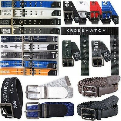 Crosshatch Mens Leather PU Designer Embossed Branded Casual Metal Buckle Belt