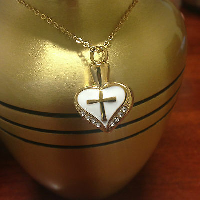 Memorial Cremation Jewellery/Pendant/Urn/Keepsake for Ashes-Gold Heart & Cross