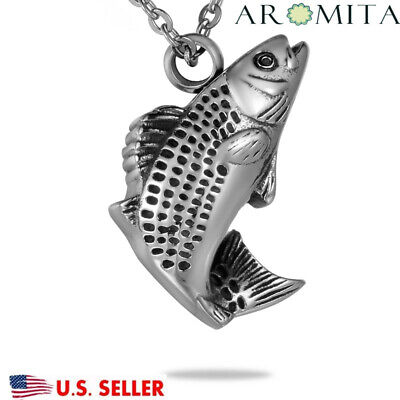 NEW Playing Fish Cremation Jewelry Keepsake Memorial Ashes Urn Holder Necklace