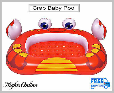 New Crab Baby Pool, Pump Up Inflatable Paddling Outdoor Pool With Padded Base