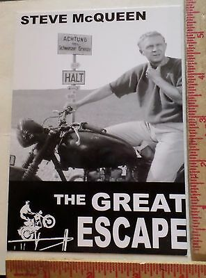 Vintage Great Escape Steve McQueen Triumph motorcycle postcard old movie card