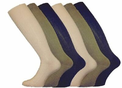 3 Pairs Mens Gents Long Hose 100% Cotton Ribbed Comfy Grip Knee High Socks