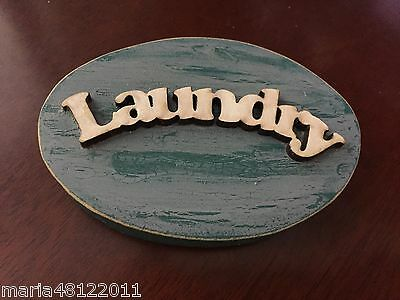 LAUNDRY Sign,3D,Oval shape,8cmW x 5.5cmH x1.5cmD,Wall,Door,Decorative,Crafts