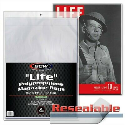 100 BCW RESEALABLE Life Magazine Archival Poly Bags + Acid Free Backer Boards