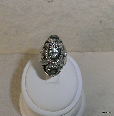Unusual Taxco Sterling Silver Abalone Poison Ring Opens! Size 7 - 10 Signed