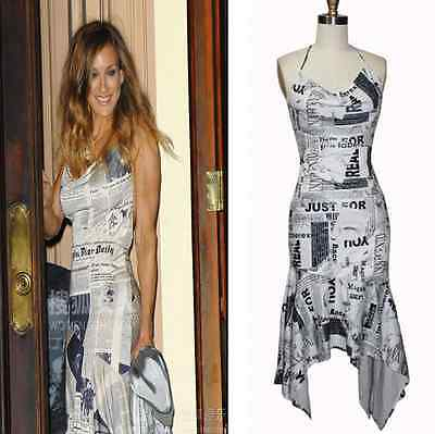 Womens Ladies Celebrity Newspaper Halter Party Cocktail Dress