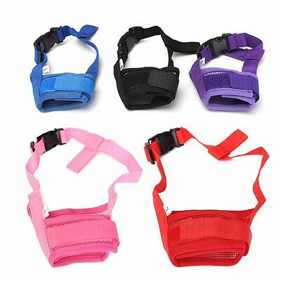 Dog Pet Adjustable Mask Bark Bite Mesh Mouth Muzzle Grooming Anti Stop Chewing