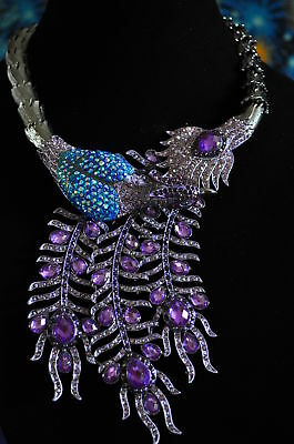 EXTRAORDINARY SWARVOSKI CRYSTAL LG PEACOCK NECKLACE/Turq & Purple cyrstals/WOW!!