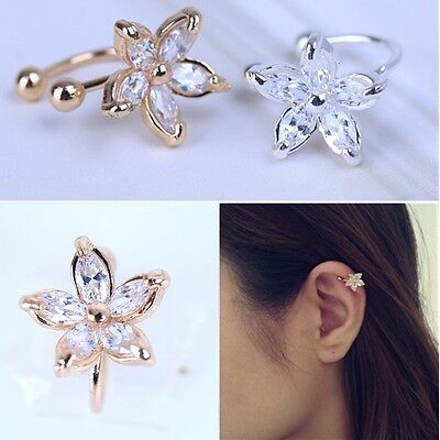 1pcs Crystal Wrap Clip On Septum Non-Piercing Fake Ear Ring Body Jewelry Hoop CA