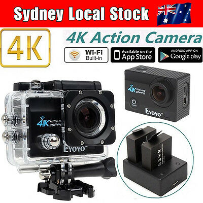 """SJ9000 4K HD WiFi Sports Action Cam 2.0"""" LCD LTPS+ Free Dual Charger Battery Kit"""