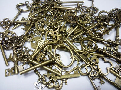 69 Assorted Antique Vintage Old Look Skeleton Keys Bronze Crown Bow Pendants Set